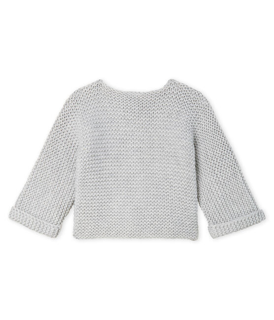Baby Girl's Wool/Cotton Moss Stitch Cardigan Beluga grey