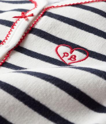 Baby's cotton sweatshirt sleepsuit Marshmallow white / Smoking blue