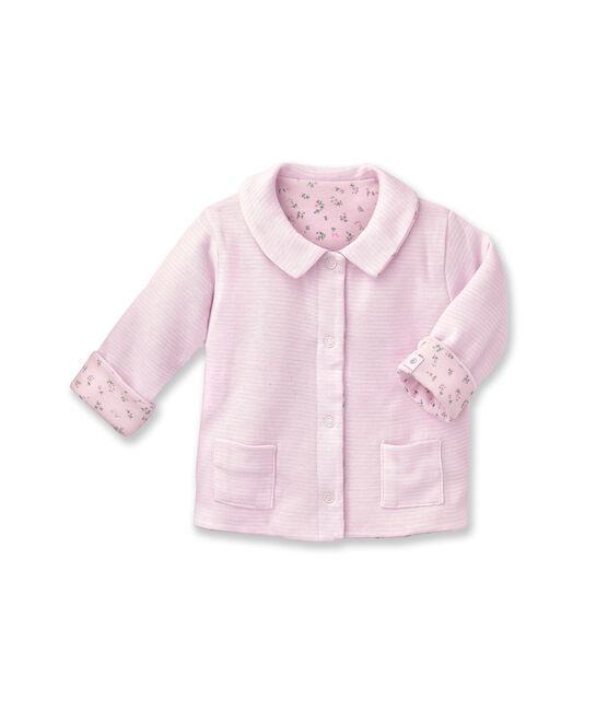 Unisex baby padded reversible milleraies jacket Vienne pink / Ecume white