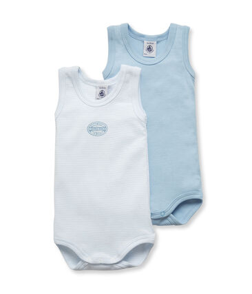Pack of 2 baby boy plain/milleraies striped sleeveless bodysuits . set