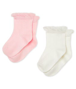 Set of 2 pairs of socks for baby girls . set