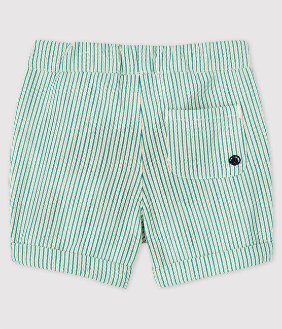 Baby Boys' Eye-Catching Stripy Serge Shorts Marshmallow white / Gazon green