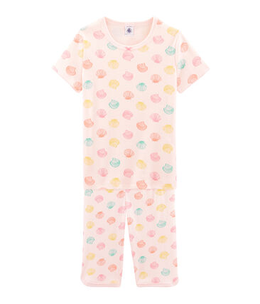 Girls' Ribbed Short Pyjamas Fleur pink / Multico white