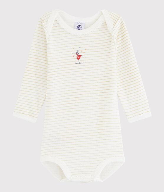 Baby Girls' Long-Sleeved Bodysuit Ecume white / Or yellow