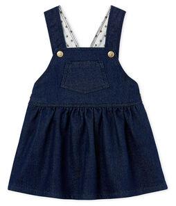 Baby girls' dungaree dress in denim look jersey