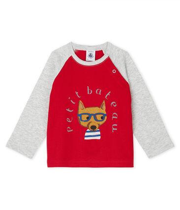 Baby Boys' Long-Sleeved T-Shirt Terkuit red / Beluga grey