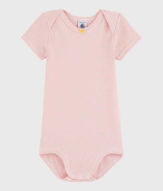 Baby Girls' Short-Sleeved Bodysuit Charme pink / Marshmallow white