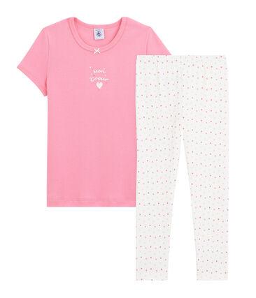 Girls' Ribbed Heart Pyjamas Petal pink / Multico white