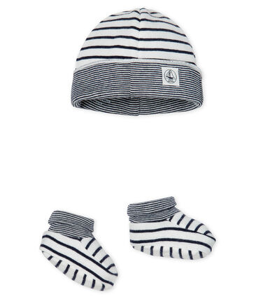 Baby Boys' Ribbed Bonnet and Bootees Set