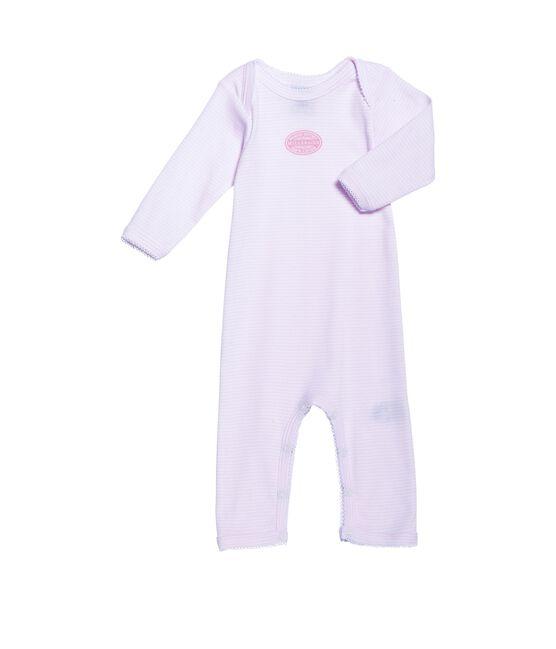 Baby girl long-legged bodysuit in milleraies stripe Vienne pink / Ecume white