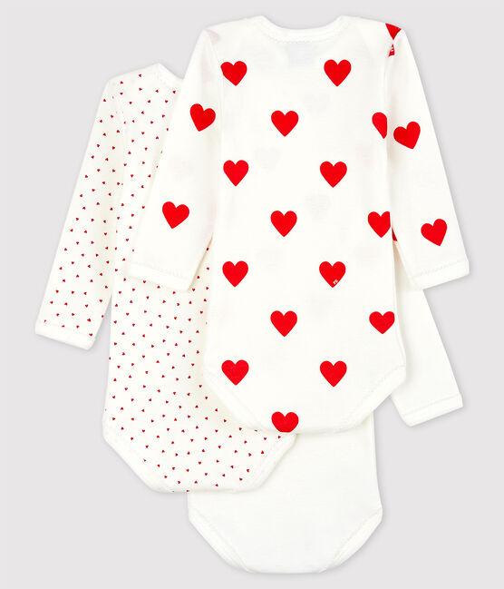 Baby Girls' Long-sleeved Heart Pattern Organic Cotton Bodysuit - 3-Pack . set