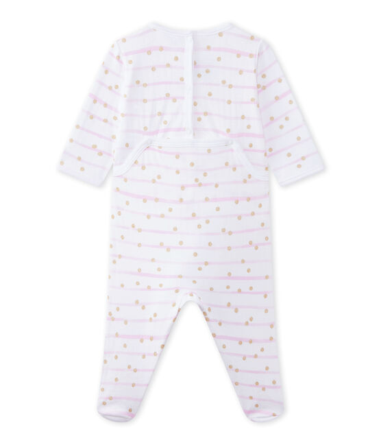 Baby girl's striped double knit sleepsuit Ecume white / Rose pink