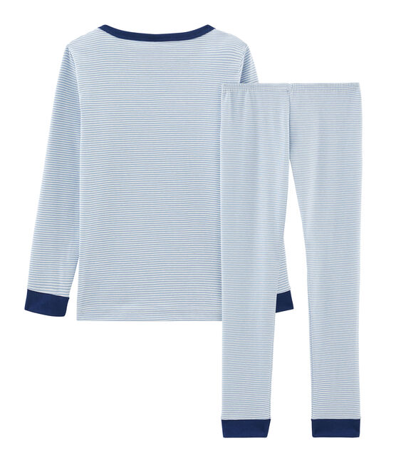 Boys' Snugfit Ribbed Pyjamas Acier blue / Marshmallow white