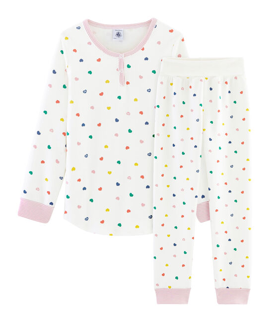 Girls' High-Rise Double-Sided Jersey Pyjamas Marshmallow white / Multico white