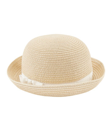 Straw hat for girls Naturel pink