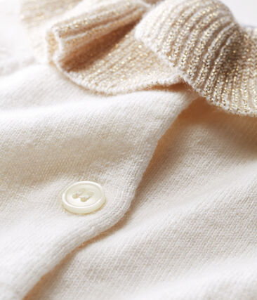 Baby Girls' Wool/Cotton Knit Cardigan Marshmallow white