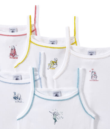 Set of 5 girls' camisoles with motifs