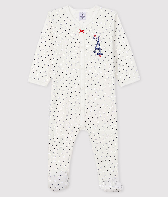 Baby Girls' Paris Ribbed Sleepsuit Marshmallow white / Medieval blue