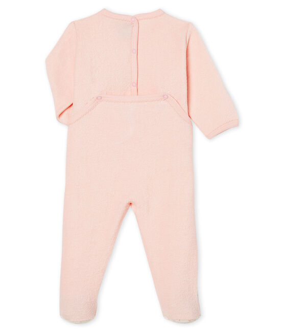 Baby Girls' Sleepsuit in Extra Warm Brushed Terry Towelling Minois pink