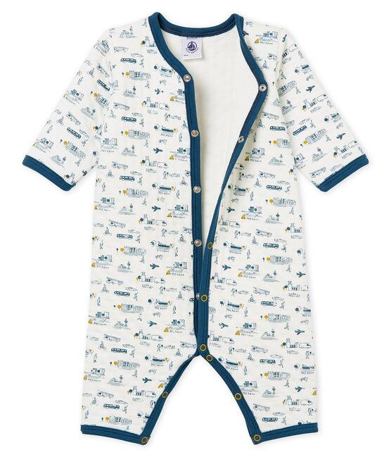 Baby Boys' Tube Knit Footless Sleepsuit Marshmallow white / Multico white