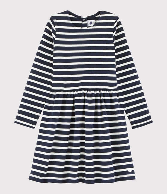 Girl's Long-sleeved Dress Smoking blue / Marshmallow white