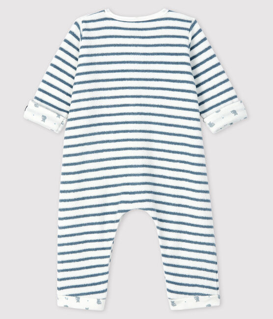 Babies' Long Striped Brushed Terry Jumpsuit Marshmallow white / Astro blue