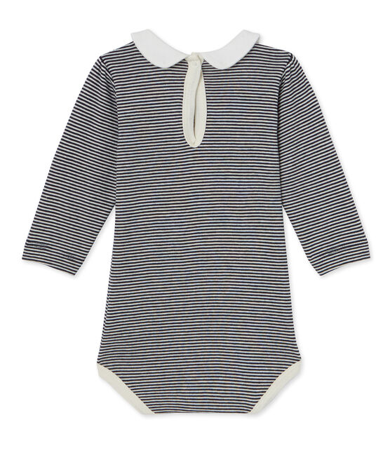 Baby girl's milleraies striped bodysuit Smoking blue / Coquille beige