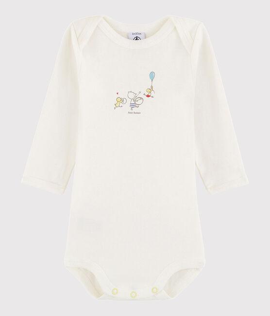 Unisex Babies' Long-Sleeved Bodysuit Lait white / Citrus yellow