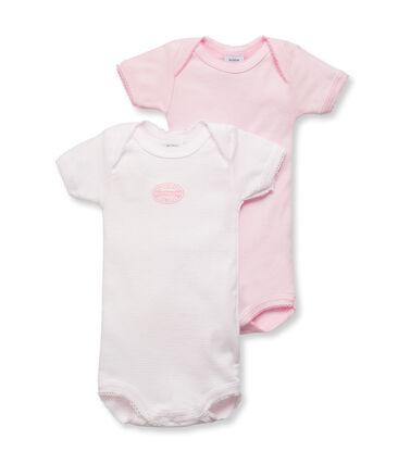 Pack of 2 baby girl short-sleeve plain/milleraies striped bodysuits. . set