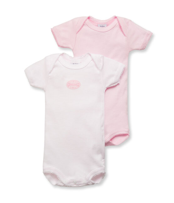 Pack of 2 baby girl short-sleeve plain/milleraies striped bodysuits. . set