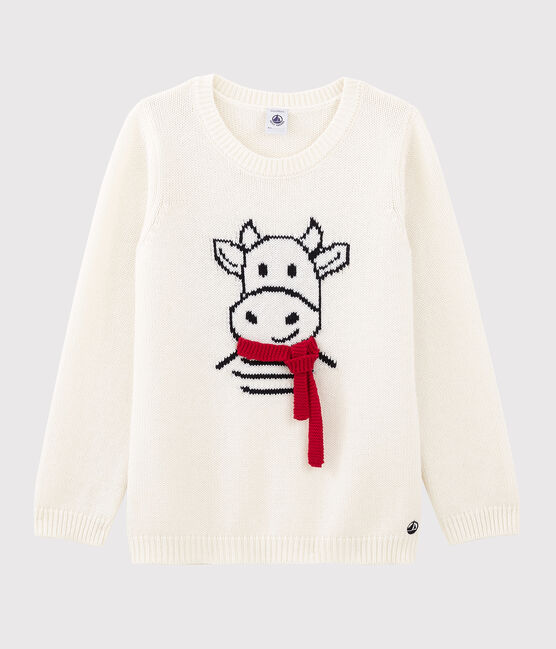 Wool and Cotton Long-Sleeved Knitted Jumper Marshmallow white / Multico Cn white