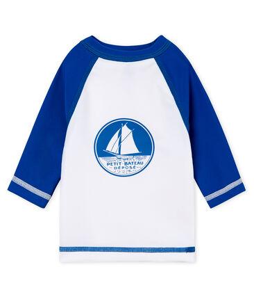 Anti-UV UPF 50+ baby boys' T-shirt Marshmallow white / Riyadh blue