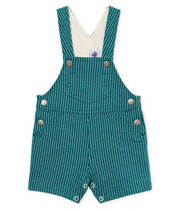 Baby boys' striped jersey short dungarees
