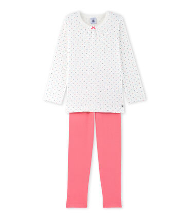 Girls' polka dot pyjamas Lait white / Carmen red