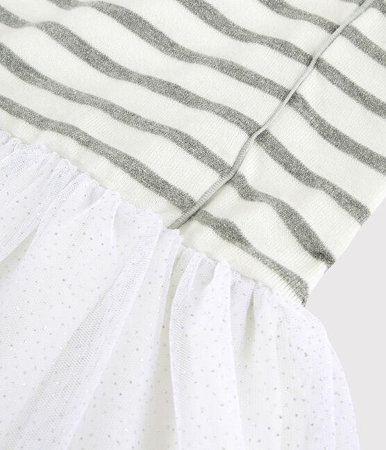 Girls' Short-Sleeved Dress Marshmallow white / Argent grey