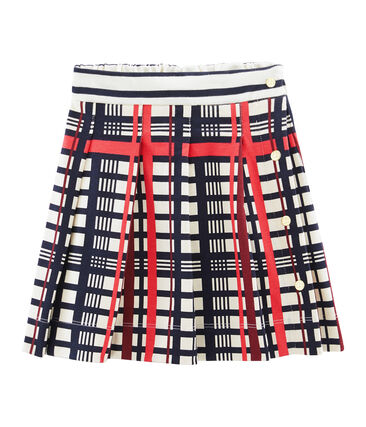 Girls' Pleated Checked Skirt Marshmallow white / Multico white