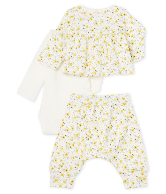 Baby Girls' Wool/Cotton Clothing - 3-piece set Marshmallow white / Multico white