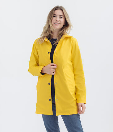 Women's overcoat-style waterproof raincoat Jaune yellow