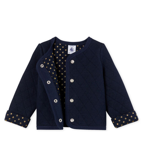 Baby Girls' Quilted Tube Knit Cardigan Smoking blue