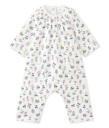 Baby girls' printed tube knit all-in-one Lait white / Multico white