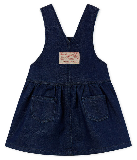Baby girls' dungaree dress in denim look jersey Medieval blue / Ecru Cn beige