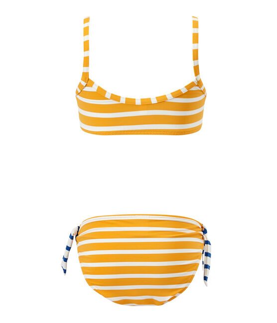 Girl's two-piece swimsuit Fusion orange / Marshmallow white