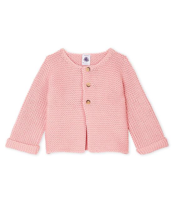 Baby Girl's Wool/Cotton Moss Stitch Cardigan Charme pink