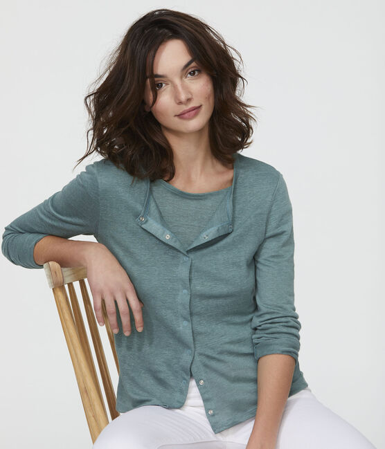 Women's Linen Cardigan Brut blue