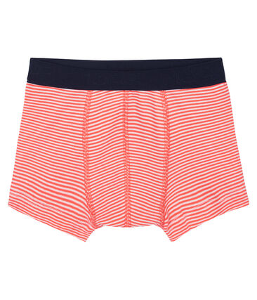Boys' boxer shorts Orient orange / Marshmallow white