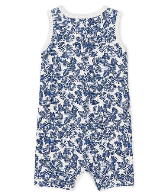 Unisex Baby's Ribbed Playsuit Marshmallow white / Bleu blue