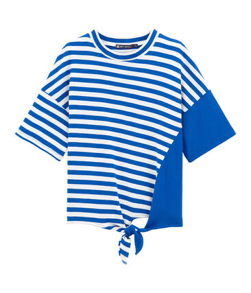 Short-sleeved T-shirt Perse blue / Marshmallow white