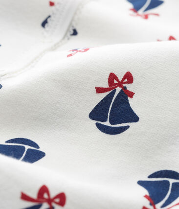 Baby Girls' Sweatshirt Sleepsuit Marshmallow white / Multico white