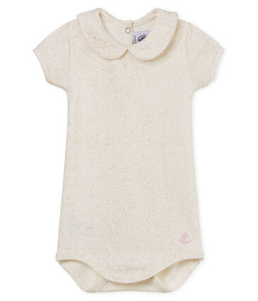 Baby girls' shiny bodysuit with peter pan collar Marshmallow white / Copper pink