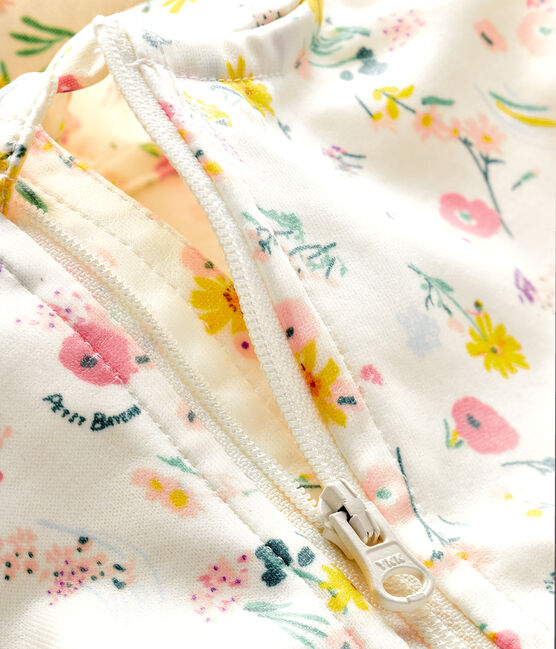 Unisex print windbreaker for babies Marshmallow white / Rose pink